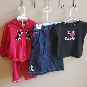 Four piece Boston Terrier outfit set